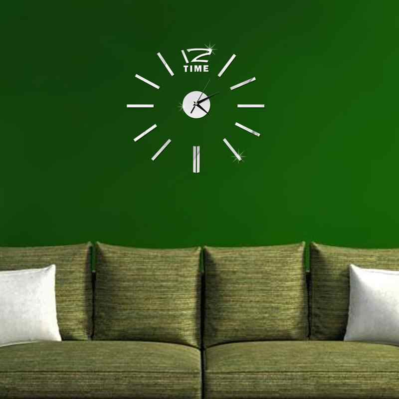 Современные DIY большие настенные часы бескаркасные 3D настенные часы с зеркальной поверхностью наклейки для дома Декор для комнат и офисов (серебро)