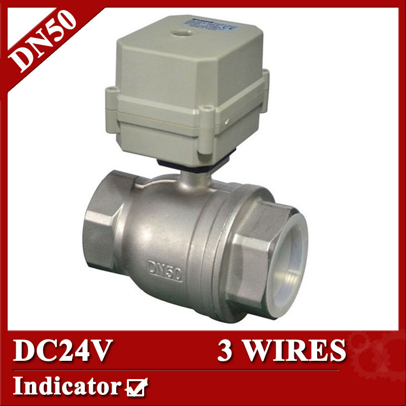 2 DC24V stainless steel electric ball valve,3 wires DN50 motorized valve with indicator for swimming pool 1 2 ss304 electric ball valve 2 port 110v to 230v motorized valve 5 wires dn15 electric valve with position feedback