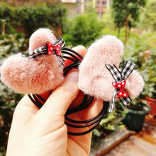 1.97 plush fluff ball love star hair ring elastic rubber band accessories for women girl lady kids ties rope