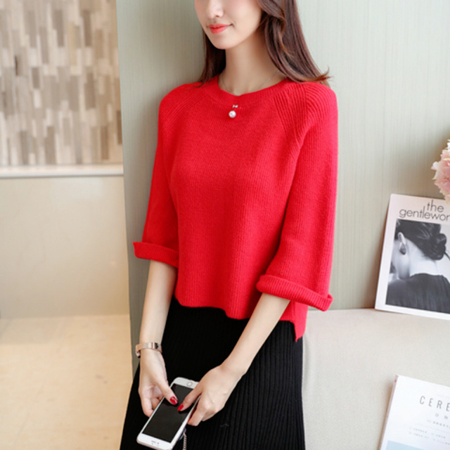 2018 Autumn Winter Wool Keep Warm Casual O-Neck Women Sweater Solid Knitted Pullovers Seven Quarter Sleeve Ladies Sweater