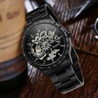 Winner Luxury Vintage Steel Stainless Black Dial Men Mechanical Skeleton Watch for Men Wristwatch with Gift Box