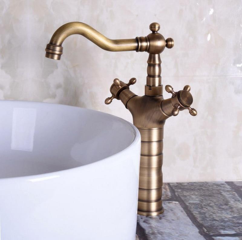 Retro Vintage Antique Brass Cruz Dupla Handles Banheiro Cozinha Bacia Sink Faucet Tap Mixer Bica Giratória Deck Montado mnf246