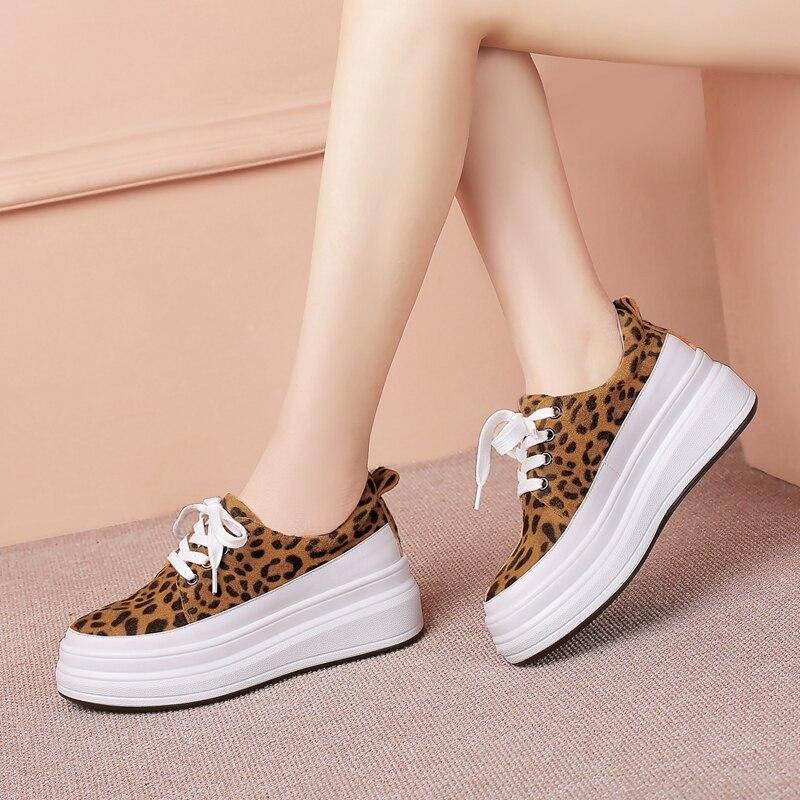 Leopard plattform casual frauen schuhe lace up frühling herbst pumpen schuhe keile frauen leder high heels schuhe große größe 42-in Damenpumps aus Schuhe bei  Gruppe 3