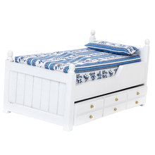 1/12 Pretend Toy Dollhouse Miniature Drawer Bed Furniture Model Two Layers Wood for Doll House Decor Child Toys Accessory(China)