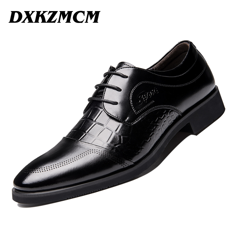 DXKZMCM High Quality Genuine Leather Men Flats Shoes Lace-Up Business Dress Men Oxfords Shoes Male Formal Shoes high quality men s shoes genuine leather british style mens loafers lace up business men oxfords shoes wedding dress flats shoes