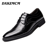 DXKZMCM High Quality Genuine Leather Men Flats Shoes Lace Up Business Dress Men Oxfords Shoes Male