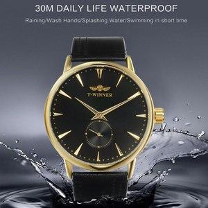Image 2 - Mannen Mechanische Horloges Winnaar Top Luxury Brand Hand Wind Horloges Rvs Lederen Band Forsining Man Waterdichte Klok