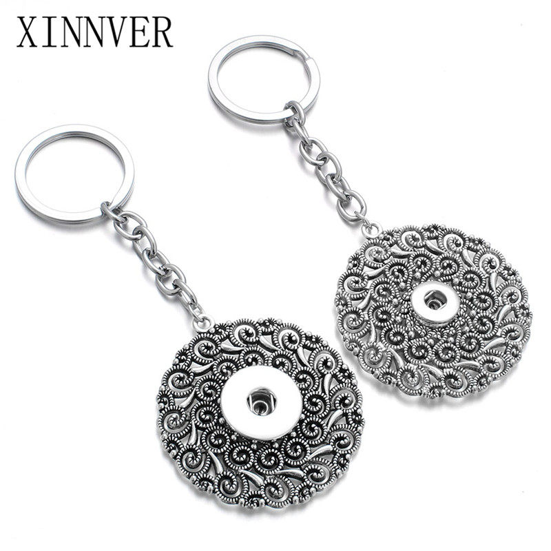 New arrival 12 &18MM Snap Keychain Jewelry Metal Round Key Chains Creative Gifts Vintage Flower Bag Charms Trinket Car Key Ring