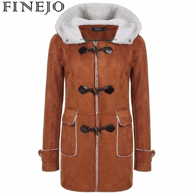 727a951aafe Finejo otoño invierno cálido abrigo mujer parka ropa larga Chaqueta larga  solo pecho con capucha Brown