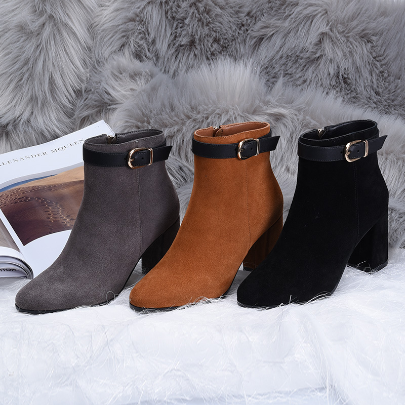 L&T Women Sexy Ankle Boots New Winter Warm Solid Pumps Shoes Suede Square Heels Boot Shoes Woman Plus Size 34-39 W75718 dunlop winter maxx wm01 205 65 r15 t