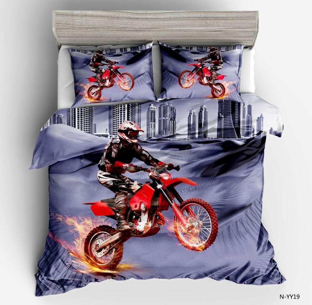 Dream NS Motorcyclist Bedding Set Modern City Rider Duvet Cover King Queen Twin Size Dekbedovertrek 1 Persoon Child Bed Set 3d