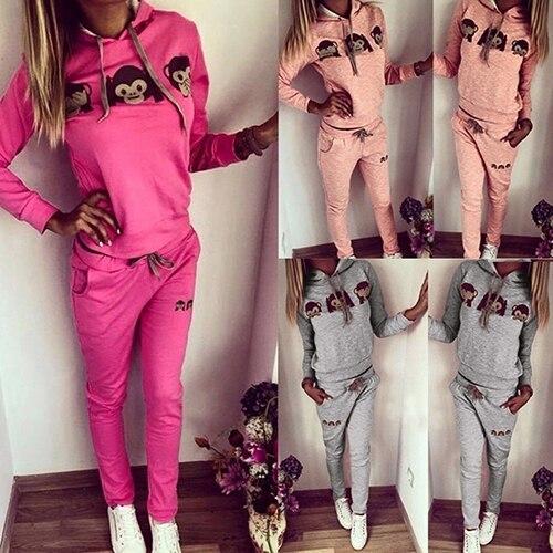 2Pcs Women 3D Monkey Casual Sweatshirt Pants Sweat Suit Tracksuit