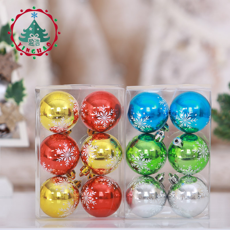6pcs Snowflake Color Drawing Decorations Ball Tree Hanging Baubles Christmas Decoration 6cm Balls Wedding Decor In Ornaments From Home