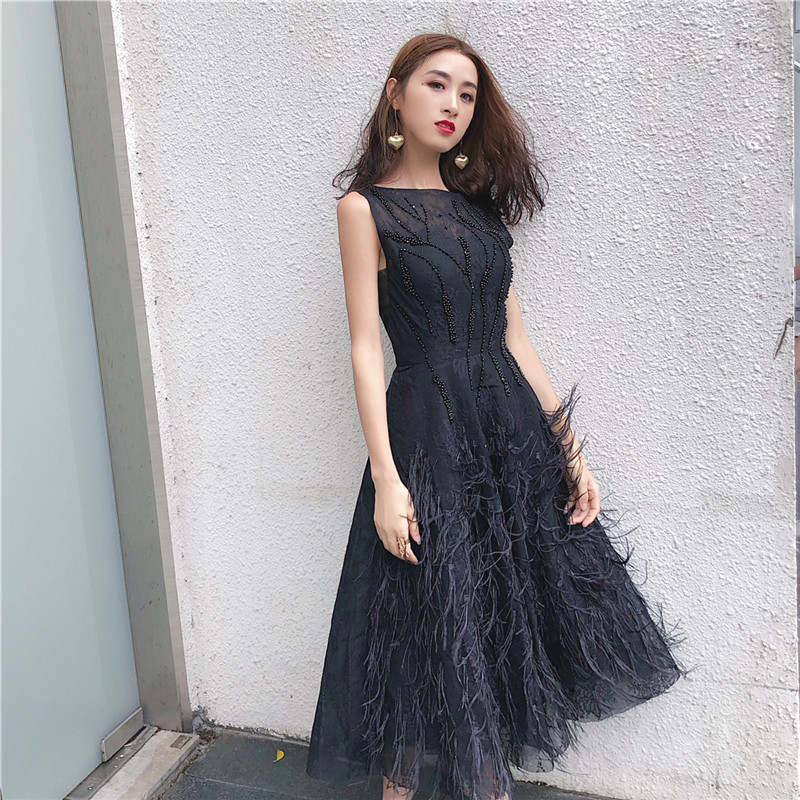 new arrive black white midi tank dress beading tassel elegant women party dress high quality