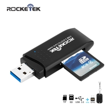 Rocketek usb 3.0 multi 2 in 1 memory otg phone card reader 5Gbps adapter SD/TF micro SD pc computer laptop accessories rocketek usb 3 0 multi 2 in 1 memory otg phone card reader 5gbps adapter for sd tf micro sd for pc computer laptop accessories