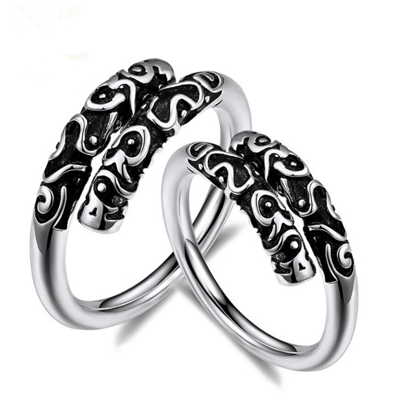Genuine Solid 925 Sterling Silver Couple Rings Vintage Incantation Golden Cudgel Resizable Ring Small Hoops Punk Fine Jewelry