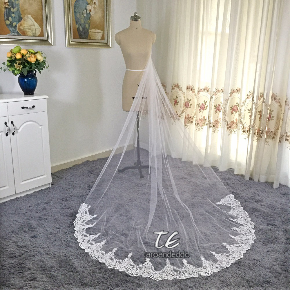 White Ivory Cathedral Length Applique Lace Real Lace Wedding Veils One Layer Lace Bridal Accessories Veil