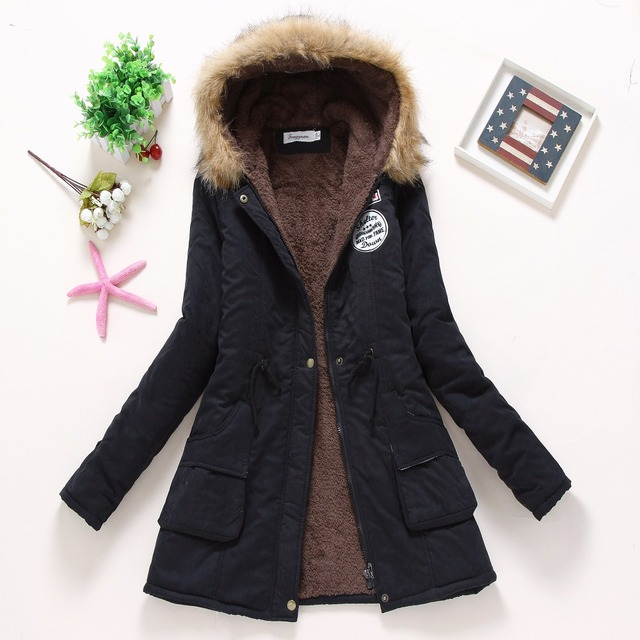 new winter military coats women cotton wadded hooded jacket medium-long casual parka thickness plus size XXXL quilt snow outwear 3