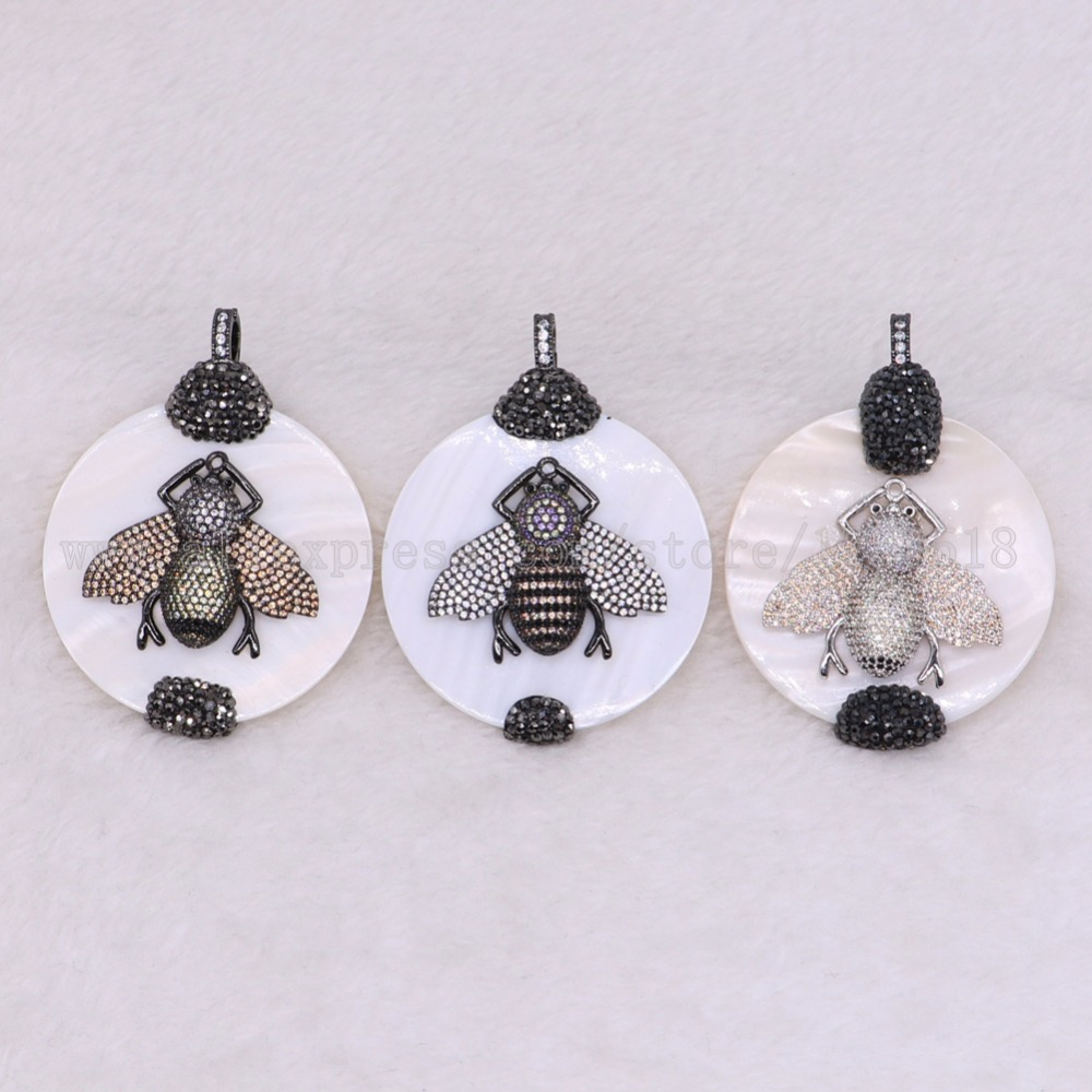 3 pieces shell beads with insects bugs bees shell pendants with round stone high quality connector 2905