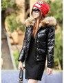 Nuevo llega el collar grande de la piel de las mujeres abajo chaqueta corta de las mujeres ropa de invierno. el envío libre