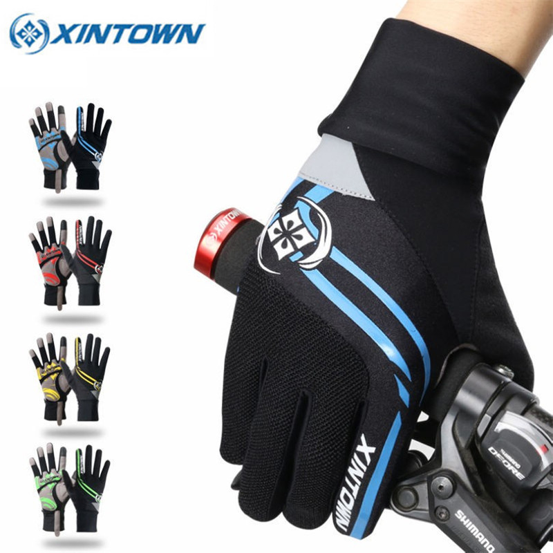 XINTOWN 2018 Riding Ciclismo Winter Cycling Gloves Bike Windproof Sports Wear Touch Screen Full Finger Long Gloves 4 Colors