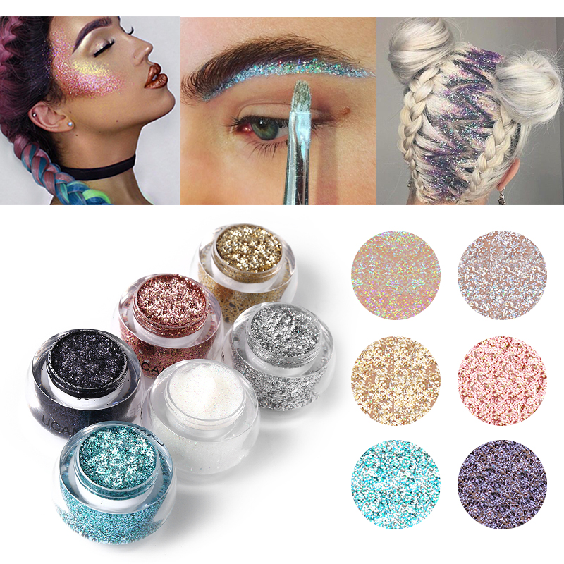 Ucanbe Brand Makeup Set 6 Colors Body Glitter Paste Shimmer Powder Silver Gold Color Diamond Gel Highlight Face Hair Make Up