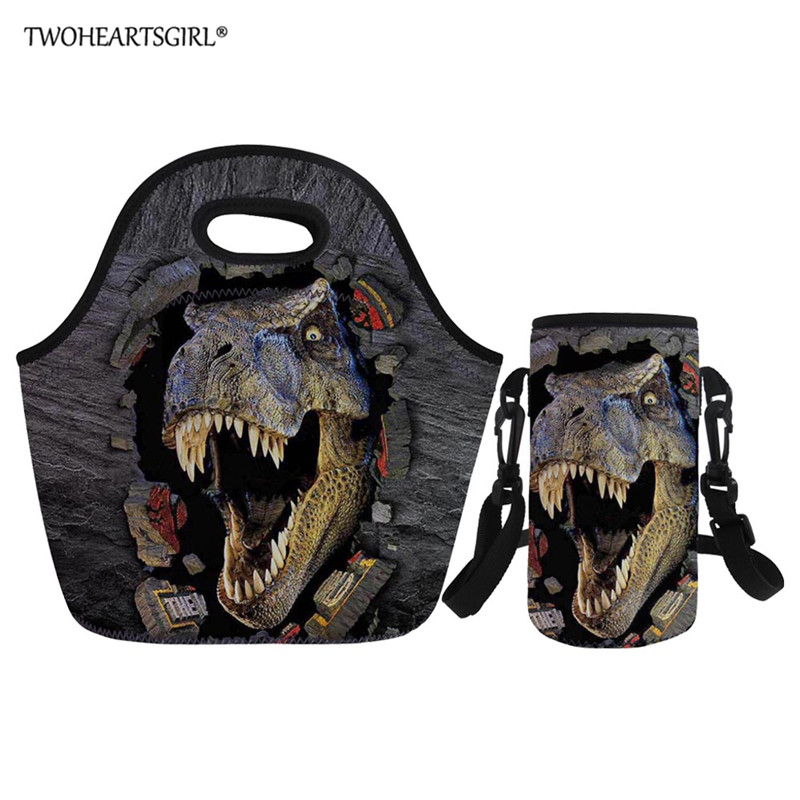 Twoheartsgirl Dinosaur Lunch Bag For Kid Portable Insulated Lunch Bag Box Family Picnic Tote Worker Lunchbag Custom Bottle Cover