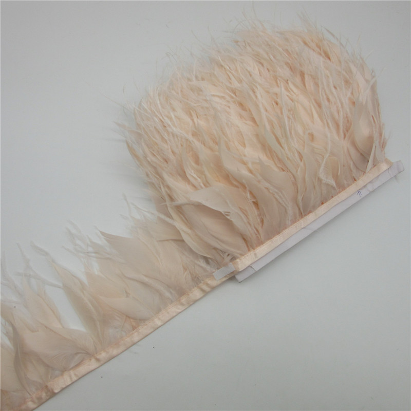 1 Yard/lot 10-15CM Ostrich Feather Trims Natural Black White Turkey Feather  For Crafts Ribbon Fringe Skirt Wedding Decoration