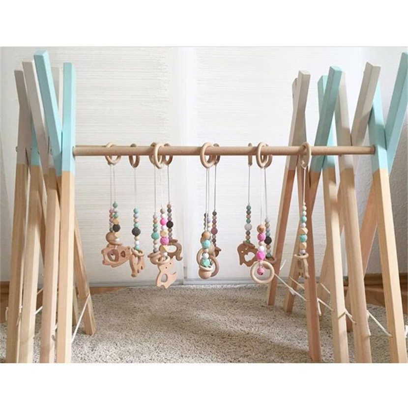 Lovely Baby Wooden Three Strings of Beads Bed Bell Toddler Toys Photography Props Kids Room Home