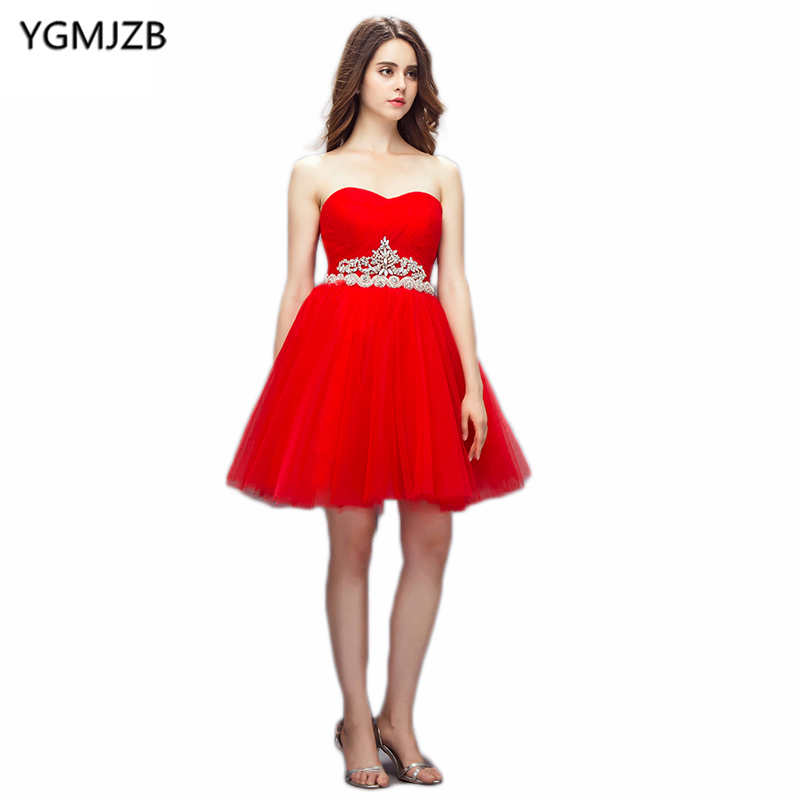 New Fashion   Cocktail     Dresses   2018 A Line Sweetheart Sleeveless Beaded Sashes Lace Up Red Short   Dress   Formal   Cocktail     Dresses