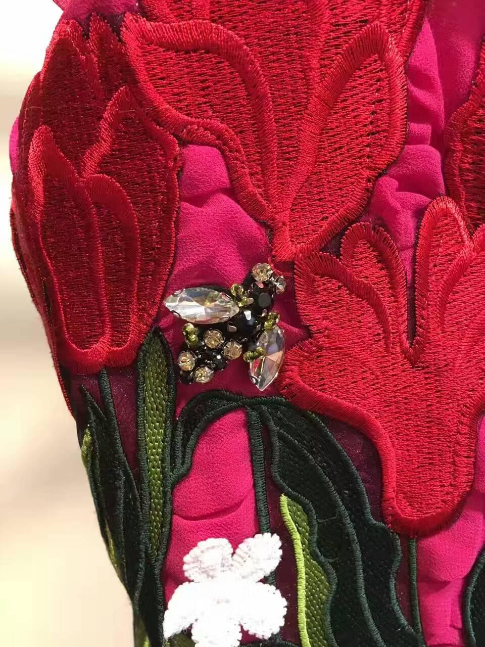 Robe Soie Festa À Pour Partie Incroyable Broderie De Robe Longue Mousseline Les Élégant Femmes Fleur La Parole Soirée D'été 6qqCgxw15