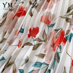 Image 4 - YuooMuoo New 2020 Women Chiffon Skirt Summer Flower Elegant Pleated Skirt Ladies Vintage High Waist Long Skirts