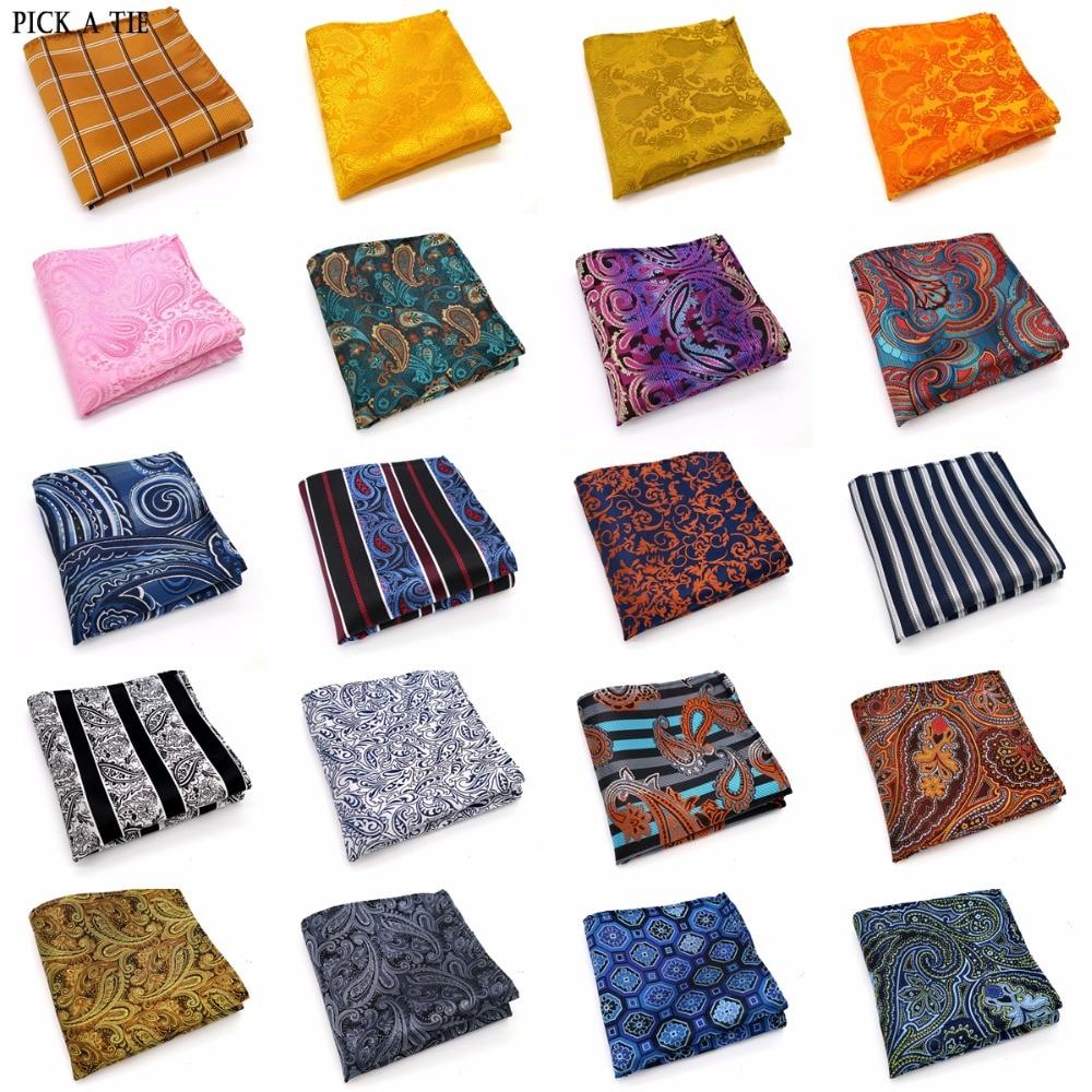 143-162 Various Men Paisley Stripes 100% Silk Satin Pocket Square Hanky Jacquard Woven Wedding Party Handkerchief 10 Inch