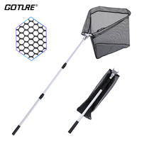 Goture Super Large Fishing Landing Net Small Mesh Folding Fishing Network 1.5M/2.1M Big Game Fishing Tackle Net For Fish