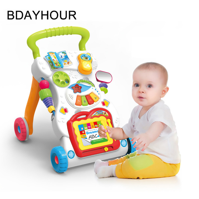 2017 New Color Fashion Baby Toys Hand Push Walker Anti-Side Dance Walk Multi-Function With Music Baby Trolley (Without Battery)
