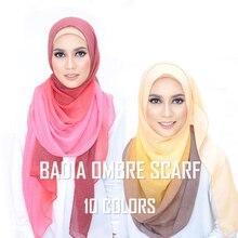 Цельный женский Омбре хиджаб шарф модный мусульманский хиджаб из вискозы хлопок ислам головной убор женский платок Макси шаль шарфы