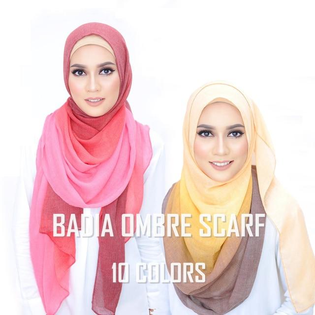 Een Stuk Vrouwen Ombre Hijab Sjaal Mode Moslim Hijaabs Viscose Katoen Islam Hoofd Wraps Vrouwen Foulard Maxi Sjaal Sjaals