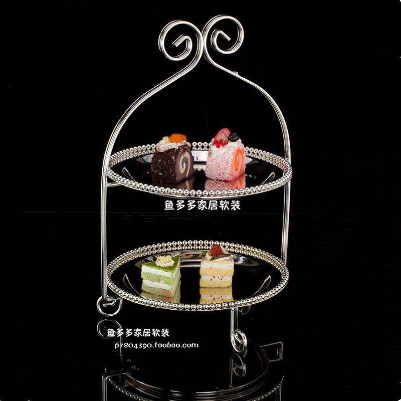 1 pièces européen argent plaqué double gâteau plaque anglais après-midi thé snack plaque multi-couche fruits plaque