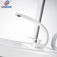 SOGNARE Basin Faucet for Bathroom Sink Faucet White Basin Mixer Water Tap Deck Mount Waterfall Sink Faucet Water Mixer Water