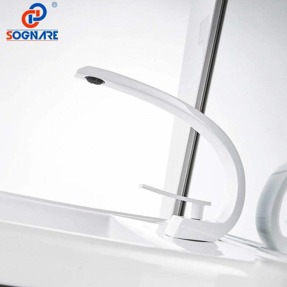 SOGNARE robinet de lavabo pour salle de bain robinet d'évier blanc mitigeur de bassin robinet d'eau support de pont cascade évier robinet d'eau mélangeur d'eau