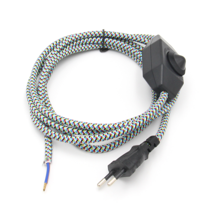 220V AC Europe Plug Power Cord With Dimmer Switch Textile Braided Cable Electrical Power Cords
