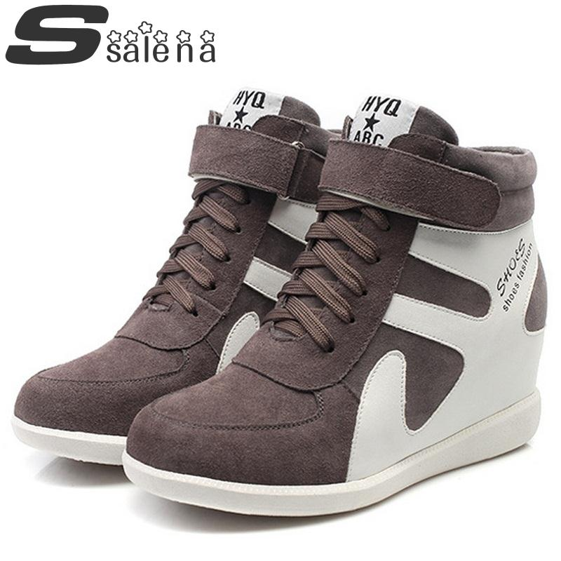 ФОТО Women Boots Ladies Ankle Boots Korean Version Of The Stealth Increases Leather Wedges Shoes Autumn Winter Size 34-39 #B2384