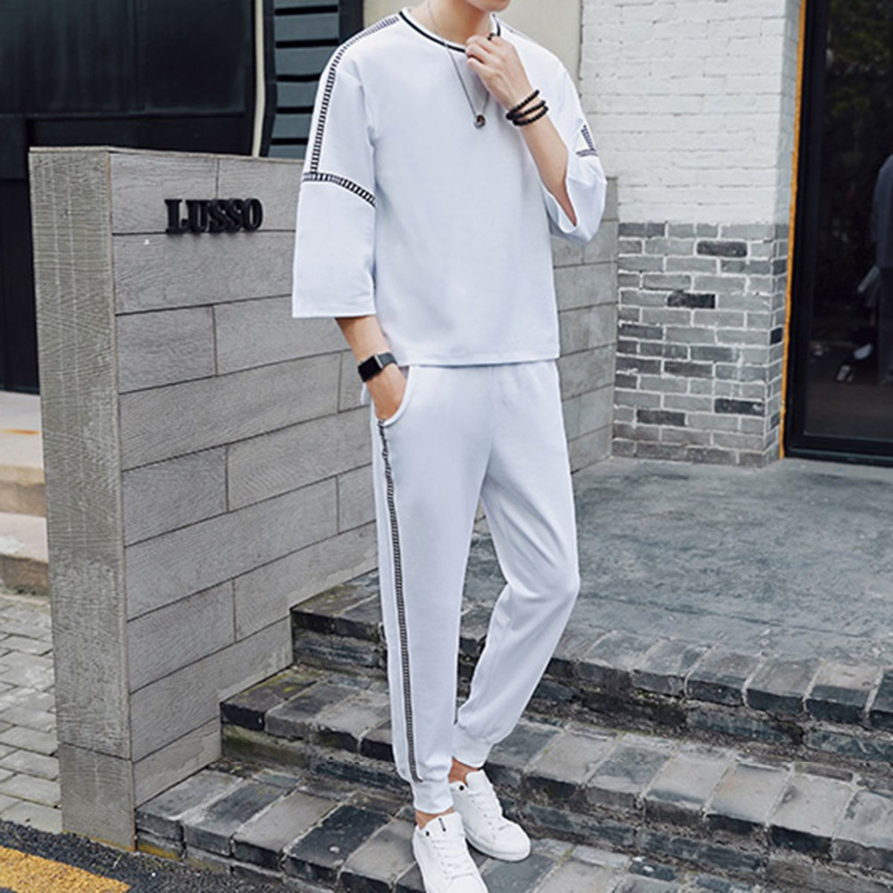 2018 Fashion brand men sets loose Side stripes mens tracksuit male sweatsuit Solid white black sweat suits Casual Cropped pants