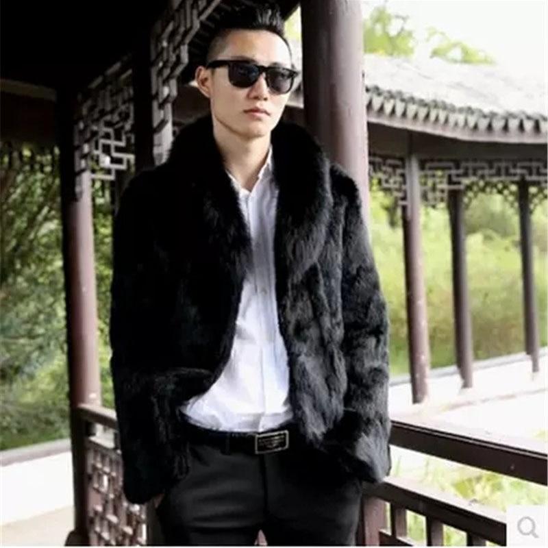 Real fox fur collar fashion fur coats men full pelt natural rabbit fur jackets man genuine fur outerwear 2018 autumn winter