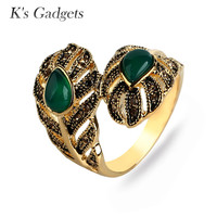 K S Gadgets Fashion Red Green With Stone Rings For Women Antique Gold Color Jewelry Big