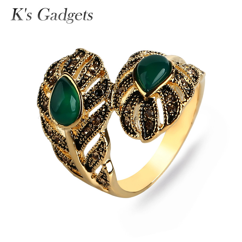 Ks Gadgets Fashion Red/Green With Stone Rings For Women Antique Gold Color Jewelry Big Leaf Engagement Ring Bagues Femme