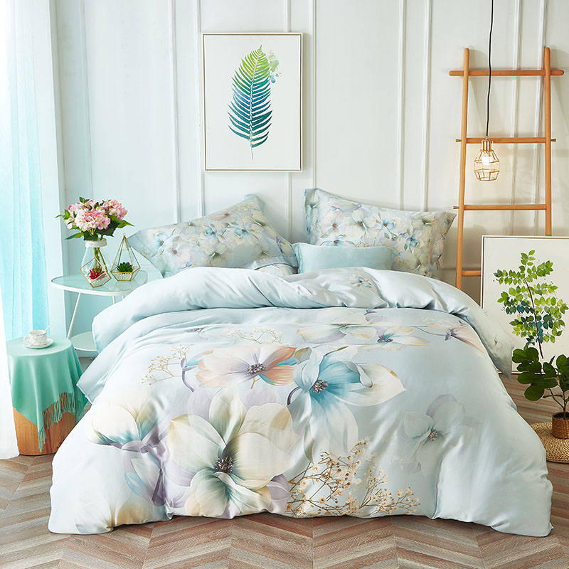100% natural plant fiber Tencel silk fresh flower cool Boho bedding set bohemian bedclothes quilt cover bed sheet hot saleB6221