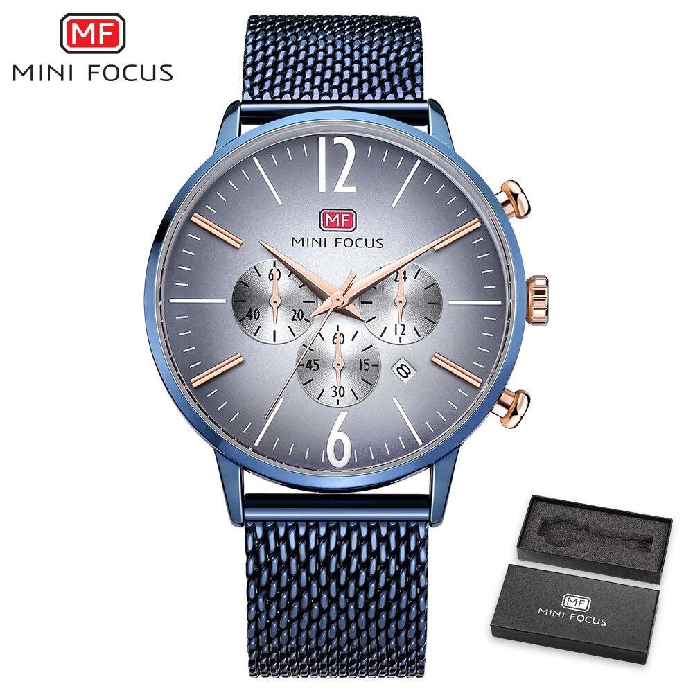 MINIFOCUS Top Brand Quartz Watch Men Stainless Steel Mesh Band Mens Wristwatch Ultrathin Fashion Luxury Chronograph reloj hombre цена