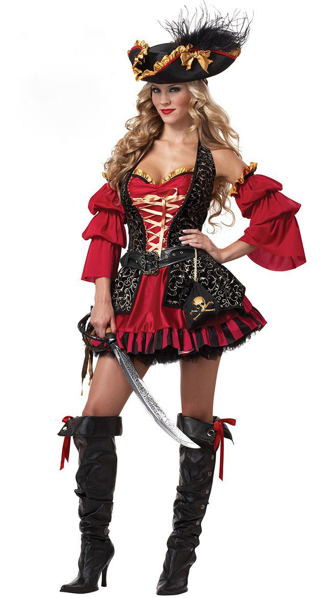 Ensen femmina adulta crudele mari capitano buccaneer pirate costume cosplay halloween fancy dress cosplay role playing costume