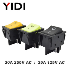 Heavy Duty KCD4-201 Rocker Switch no light 30A 250VAC ON OFF DPDT Switch Double pole single throw Green Yellow Black Switch